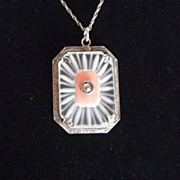 Vintage Sterling Camphor Glass Pendant on Sterling Chain