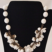 Designer RADA White Floral and Glass Necklace- Italy