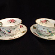 Wedgwood Oriental Motif Cup and Saucer 2 sets