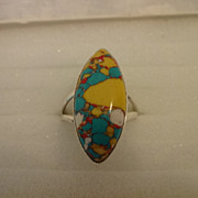 SOLD Beautiful Sterling Turquoise Mosaic Ring Size 9