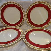 "Wedgwood Whitehall Powder Ruby 9"" Luncheon Plate (4)"