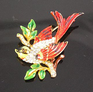 Coro Sterling Craft Enamel Bird on a Branch
