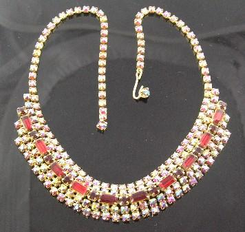 Red & Aurora Borealis Rhinestone Necklace