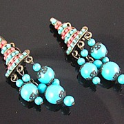 SALE Hobe Faux Turquoise & Coral Dangle Earrings
