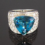 SALE Sterling Silver Blue Triangle & Pave Clear Rhinestone Ring