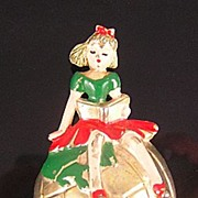 SALE Girl on a Globe Enameled 1941 Fur Clip