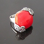 SALE Sterling Silver, Marcasites and Large Red Thermoset Square Ring