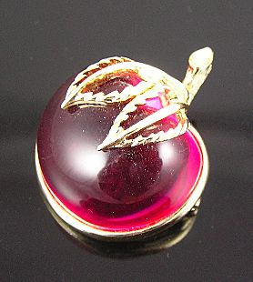 Sarah Coventry Fuchsia Translucent LuciteCirca 1960's Apple Pin