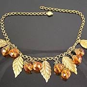 SALE Brass Leaves and Faceted Amber Colored Glass Crystal Dangles Circa 1930�s Necklace