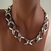 SALE Taxco Mexican Sterling Circa 1980�s Silver Geometric X�s Necklace