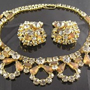 SALE Spectacular Circa 1940�s Smoky & Root Beer RS Necklace & Earrings