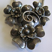 SALE Silver on Brass Flower Necklace Doubles as Fur Clip