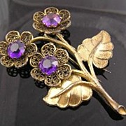SALE Pretty Purple Rhinestone Circa 1940�s Flower Fur Clip