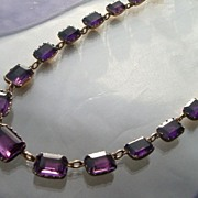 Glorious Early Georgian Foiled Back Amethyst Paste Necklace
