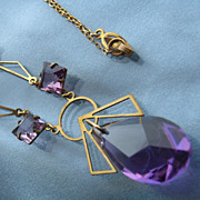 Attractive Art Deco Purple Crystal Glass Lavalier Necklace