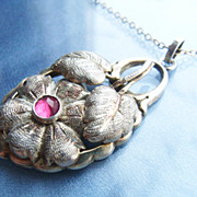 Beautiful Antique Hand Crafted Silver Vermeil Pendant Necklace