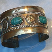 Fabulous Wide Art Deco Egyptian Revival Sphinx Cuff Bracelet
