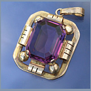 Gorgeous Geometric Design Retro Art Deco Violet Paste Pendant