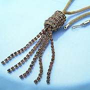 Glitzy 1950s Amber Rhinestones Tassel Pendant Snake Chain