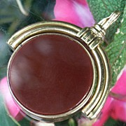 Fabulous Large Art Deco Bloodstone & Carnelian Spinner Fob