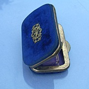 Blue Velvet Victorian Change Purse with Ornate Gilding