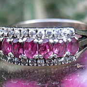 Beautiful Edwardian Pink Paste & White Sapphire Ring