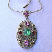 Pretty 1940s English Rhinestone Pendant Necklace
