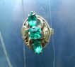 Art Nouveau Marquise Shape Green Glass Paste Ring