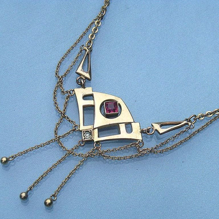 Gorgeous Art Nouveau Ruby & Clear Paste Pendant Necklace