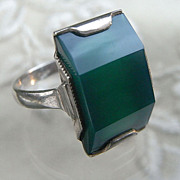 Unusual HM Silver Green Celluloid Art Deco Ring