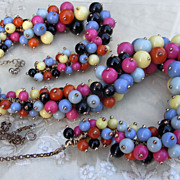 Vintage Multi Color Calypso Bead Necklace Bracelet Set