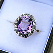 Vintage Diamond & Amethyst 9K Gold Cocktail Ring Full HM for1973