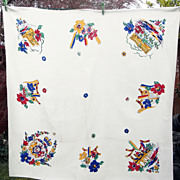 SOLD 1950s Queen Elizabeth Coronation Souvenir Linen Tablecloth