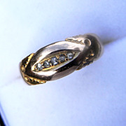 Hallmarked Victorian 15K Gold and Diamond Boat Ring 1890