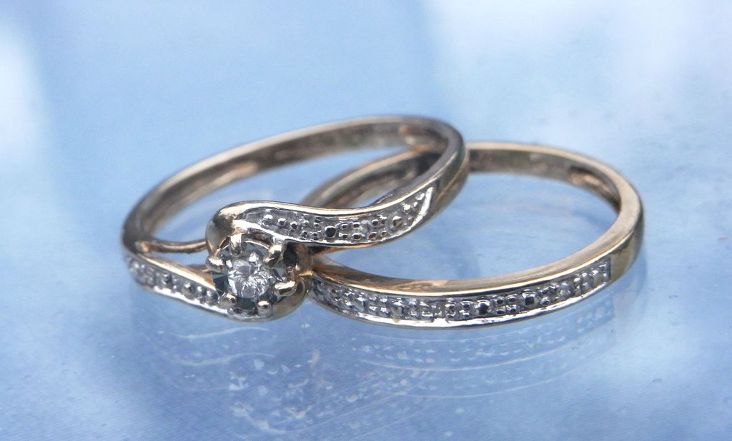 Vintage 1950s Wedding Set Engagement Marriage Rings 9K HM