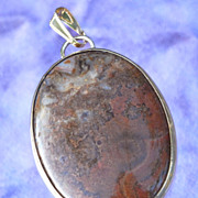 Edwardian Scottish Moss Agate Pendant HM Birmingham 1902 9K