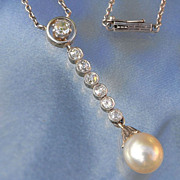 Superb Art Deco Platinum 14K Gold Diamond & Pearl Necklace