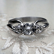 Fabulous Art Deco French Rose Cut Diamond 18K White Gold Ring