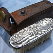 Antique Art Nouveau HM Silver French Moustache Brush Leather Case