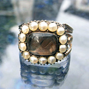 Beautiful 18K Gold Georgian Woven Hair & Pearl Ring
