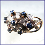 Vintage 9K Gold Sapphire Sputnik Ring HM London 1969