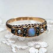 Gorgeous Victorian 18K Opal Pearl Chrysoberyl Ring HM 1867