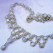 Vintage HM Silver Moonstone Festoon Necklace