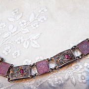 Rose Pink Guilloche & Flower Art Deco Link Bracelet