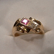 Gorgeous Vintage Diamond & Ruby 14K Gold Ring
