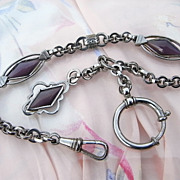 Antique Victorian Fob Watch Chain with Plum / Lavender Galalith