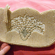 Graceful 1930s Faux Pearl Clutch Purse Beautiful Flowers