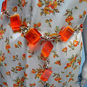 Vibrant Two Tone Orange Vintage Lucite 60s belt