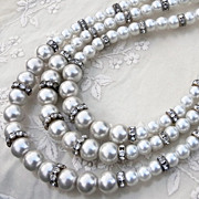 50s Graduated Three Strand & Rondel Faux Pearl Necklace