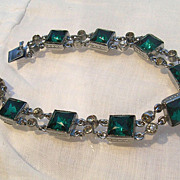 Rhodium Plated Art Deco Line Bracelet Foiled Paste Stones